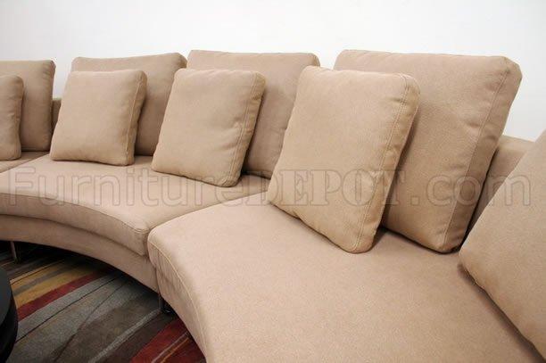Tan Fabric 3pc Curved Modern Sectional Sofa W Steel Legs