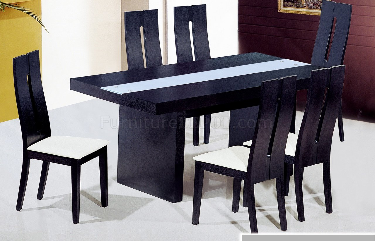 dt6142 dining table in wenge by at home w glass inlay. Black Bedroom Furniture Sets. Home Design Ideas