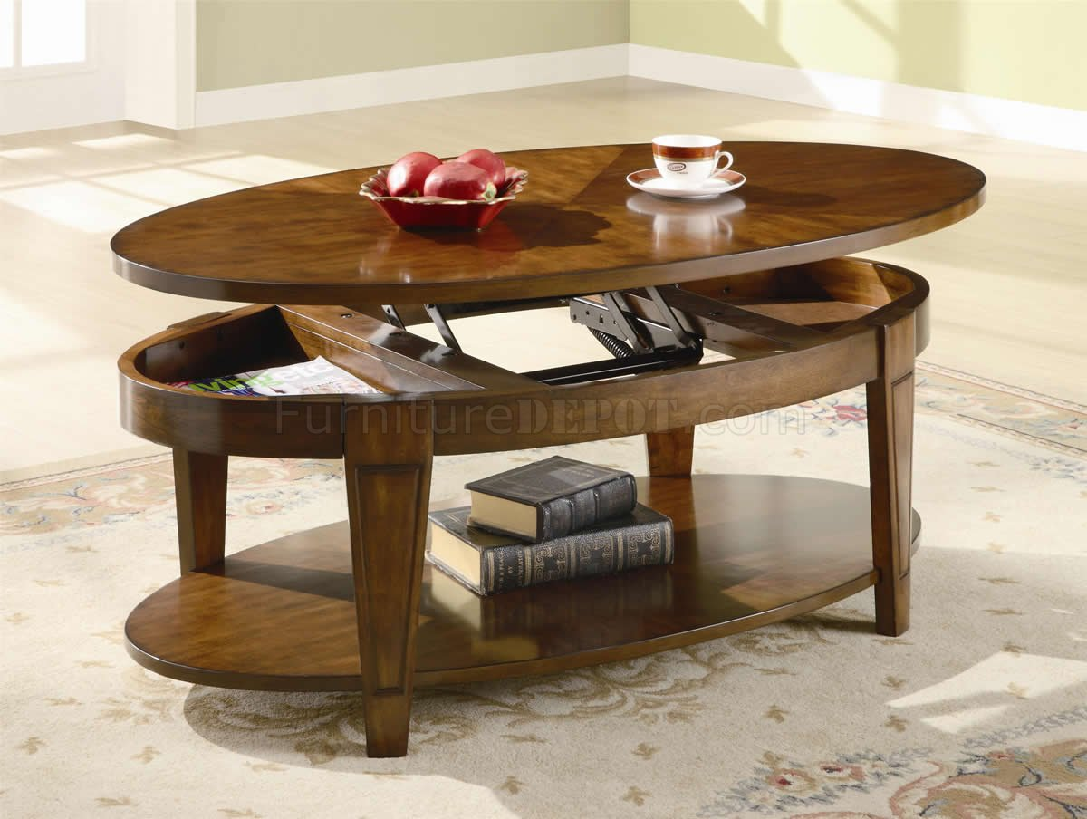 Rich Cherry Finish Modern Lift Top Coffee Table W Options