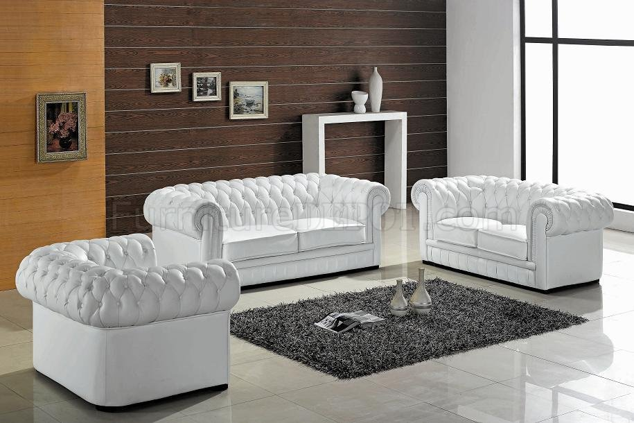 White Leather Ultra Modern 3pc Living Room Set W Wood Legs