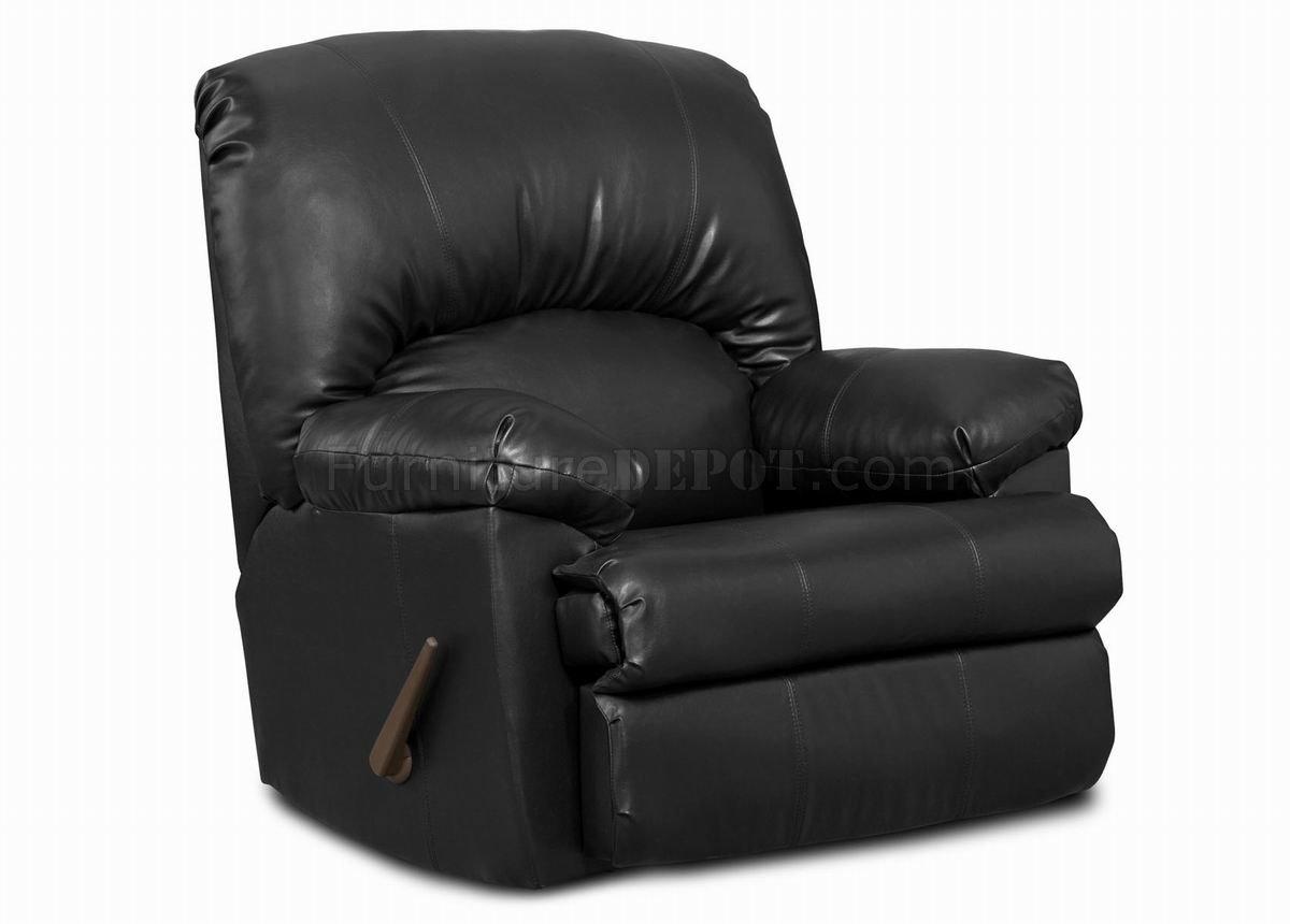 Black Blended Leather Modern Comfortable Recliner