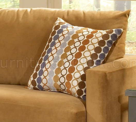 Bella Cognac Fabric Sofa Amp Loveseat Set W Hula Hoop Pillows