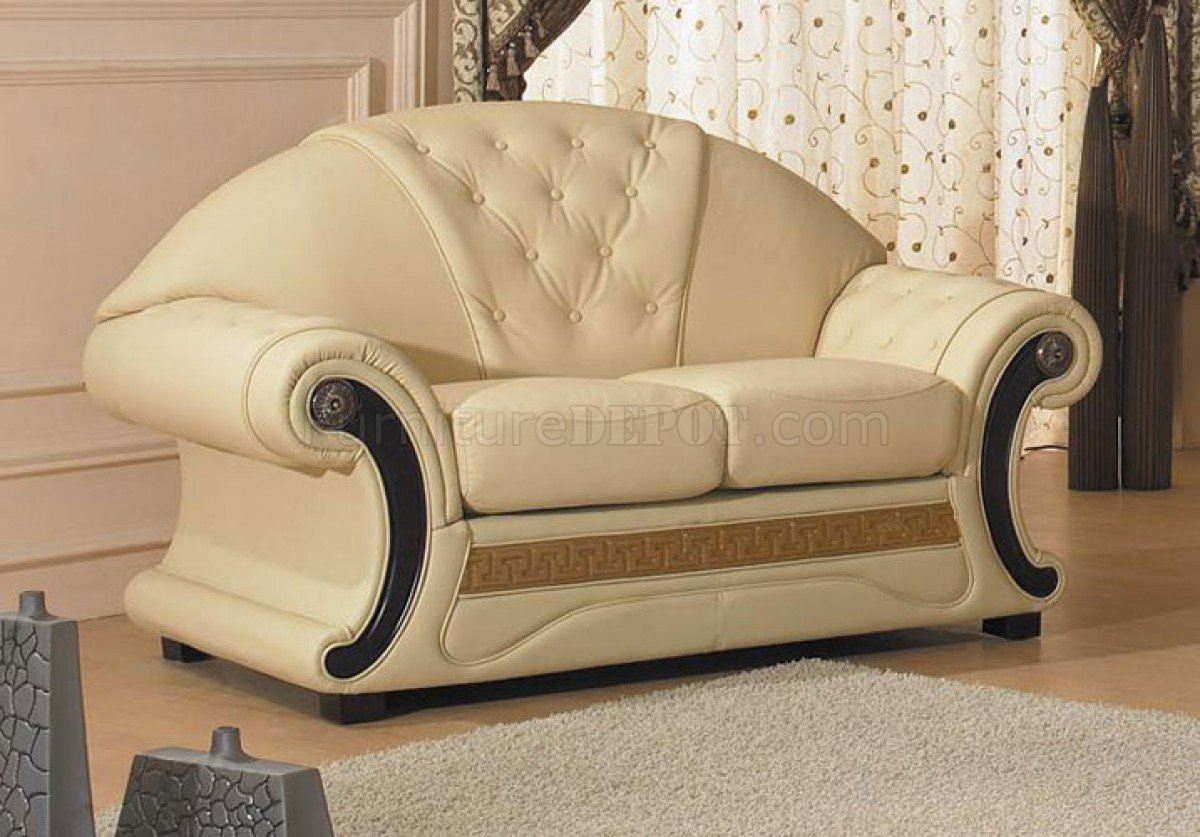 Fantastic Cleopatra Sofa Set 3Pc In Beige Half Leather By Vig Gmtry Best Dining Table And Chair Ideas Images Gmtryco