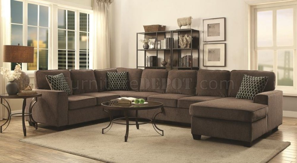 Provence Sectional Sofa 501686 In Brown Fabric By Coaster