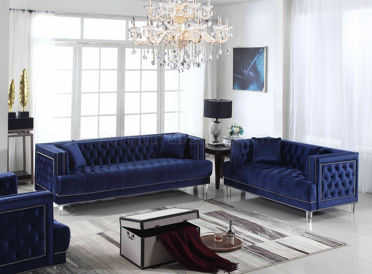Kendel Sofa Loveseat Set In Dark Blue