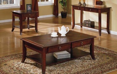 Cherry finish modern coffee table w shelf drawers for Modern cherry coffee table