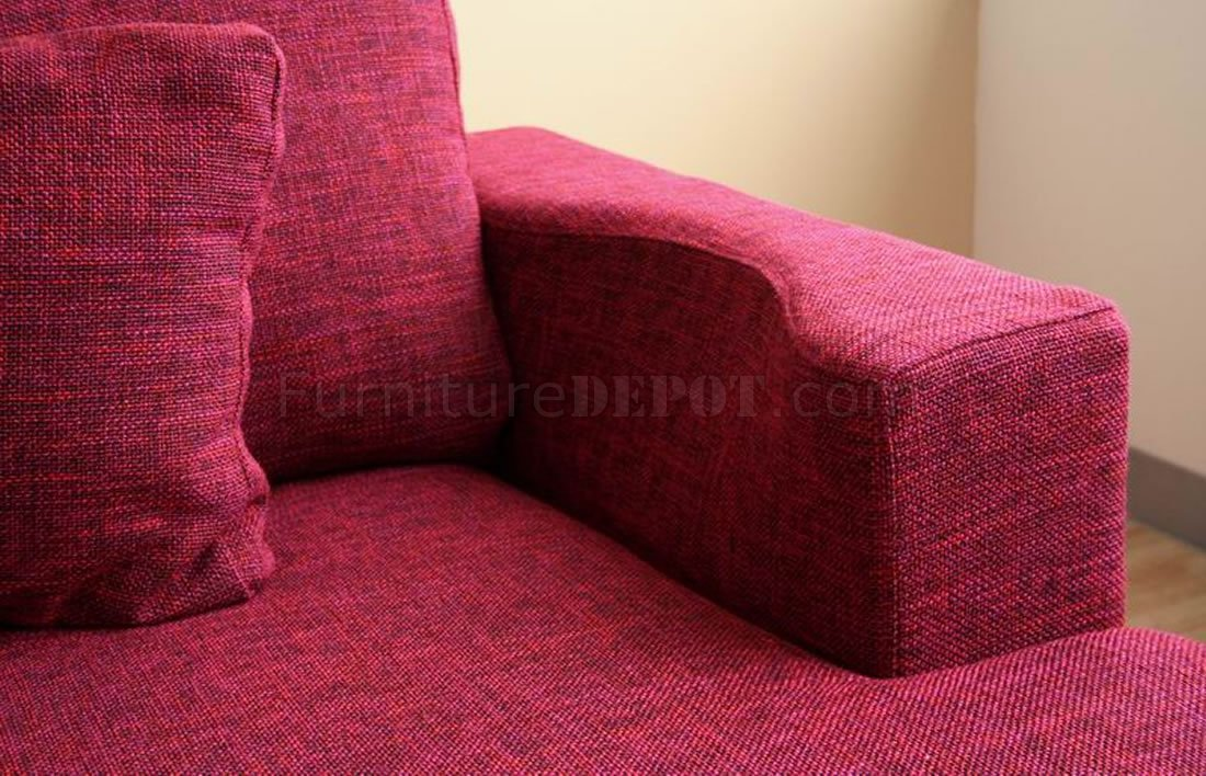 Fabric Sectional Sofa in Burgundy