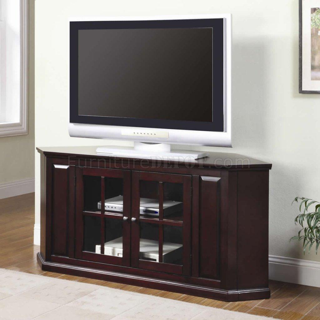 Rich Cherry Finish Modern Corner Tv Stand W Two Glass Doors