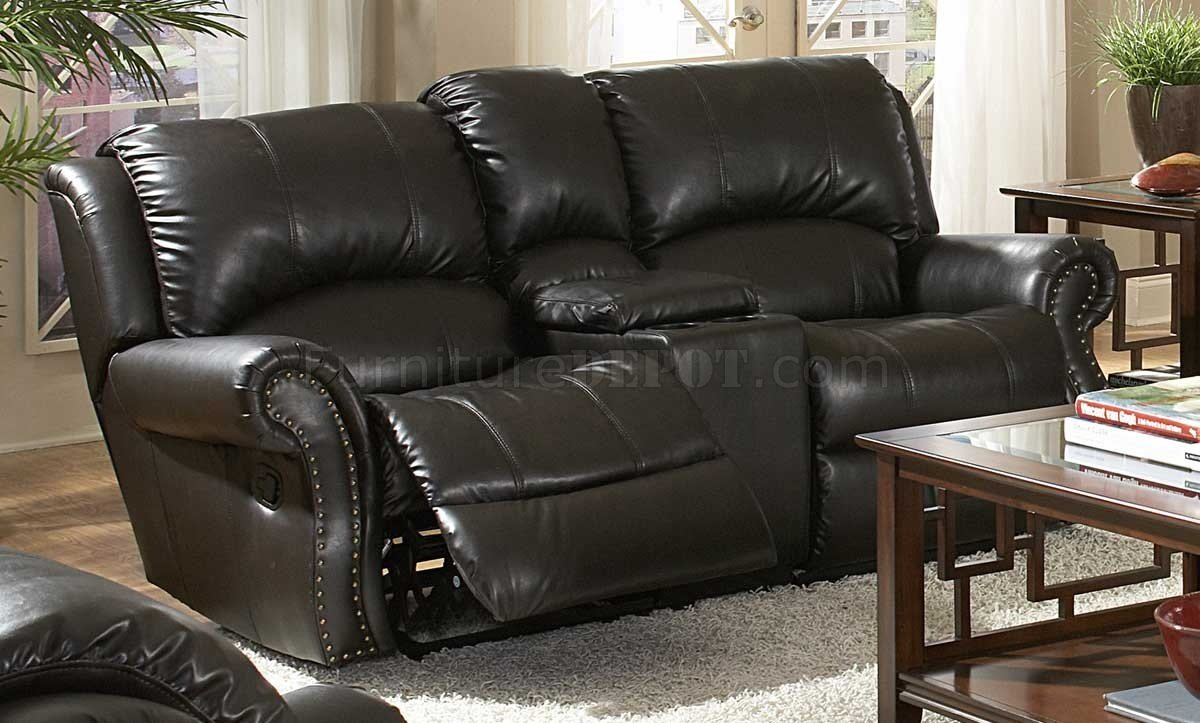 Black Bonded Leather Sofa u0026 Loveseat Set w/Recliner Seats & Bonded Leather Sofa u0026 Loveseat Set w/Recliner Seats islam-shia.org