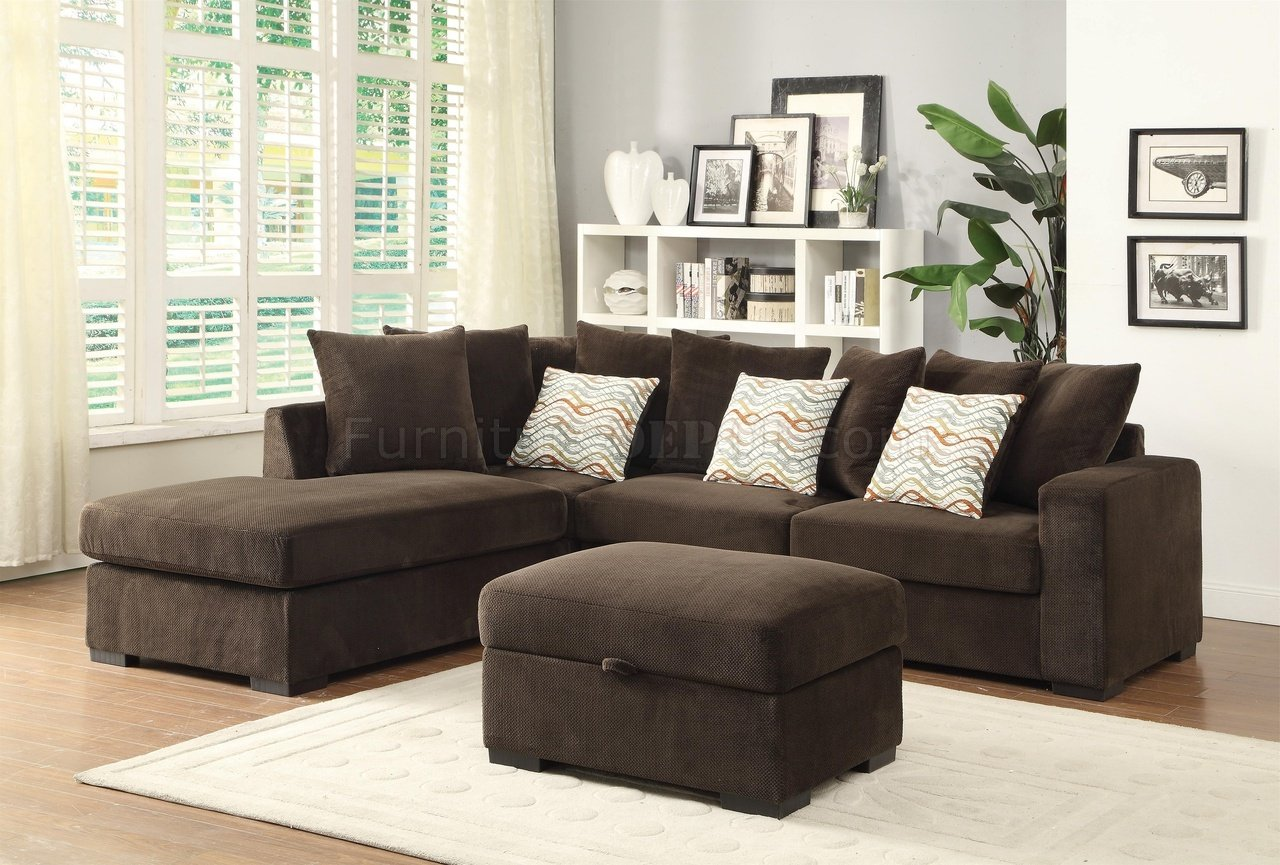 Olson Sectional Sofa 500086 in Chocolate Fabric by Coaster : coaster sectional sofa - Sectionals, Sofas & Couches