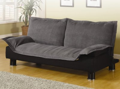 Modern Microfiber Convertible Sofa Bed Grey Black