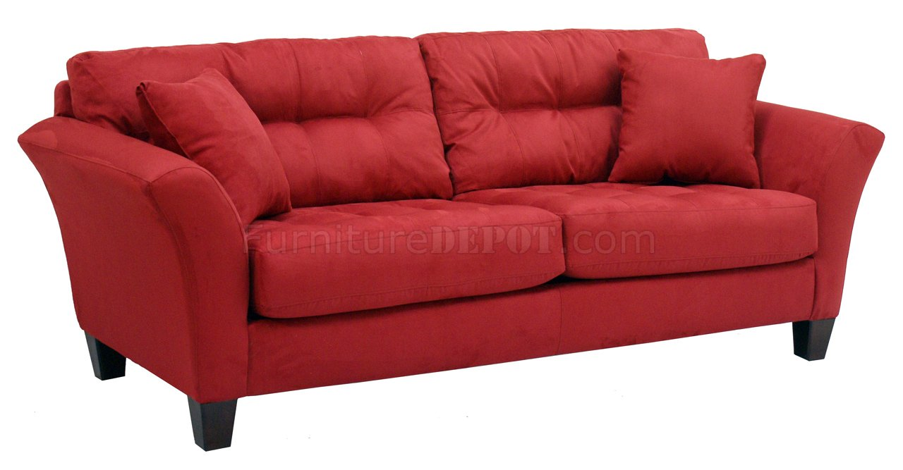 Red tufted fabric modern sofa loveseat set w wood legs Red sofas and loveseats