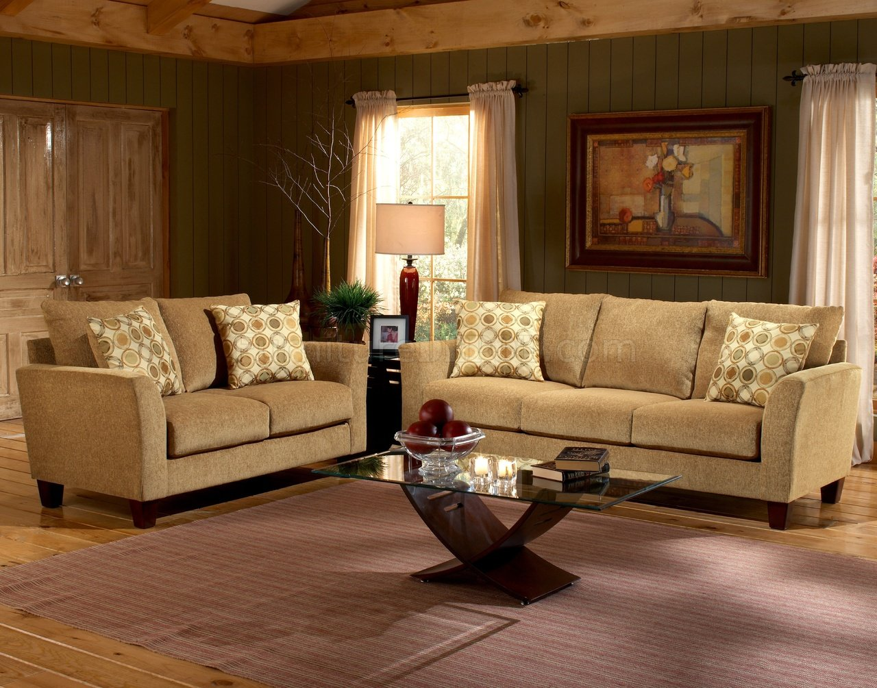 Barton camel fabric casual living room sofa loveseat set for Casual living room chairs