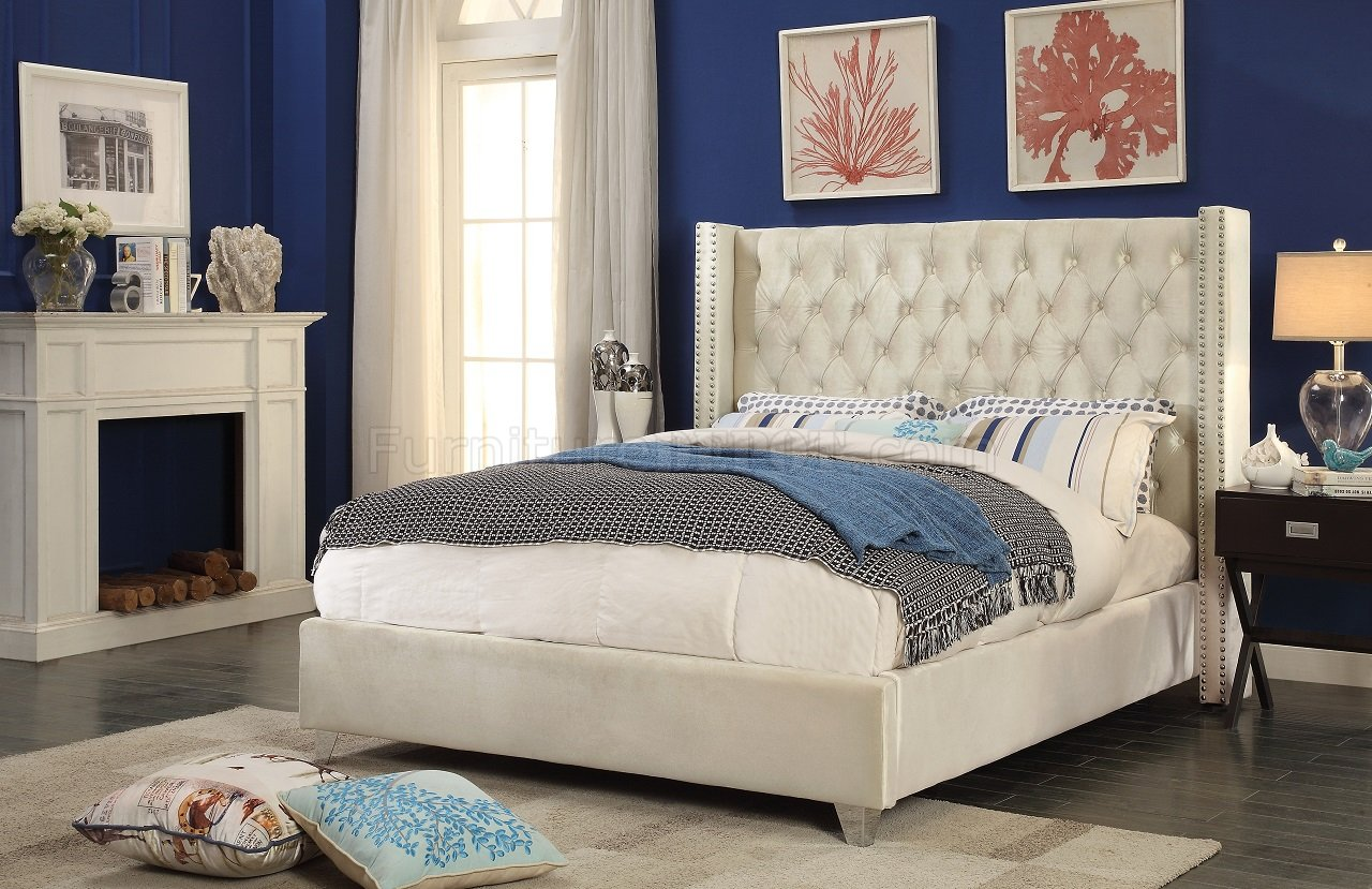 Aiden Wing Bed In Cream Color Velvet By Meridian W Options