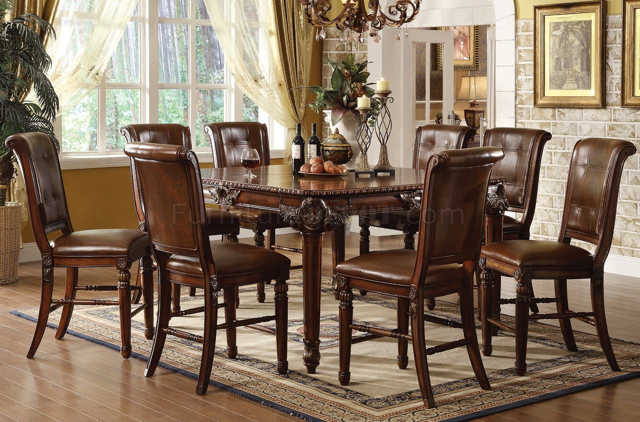 60080 winfred counter height dining table in cherryacme Counter Height Dining Set
