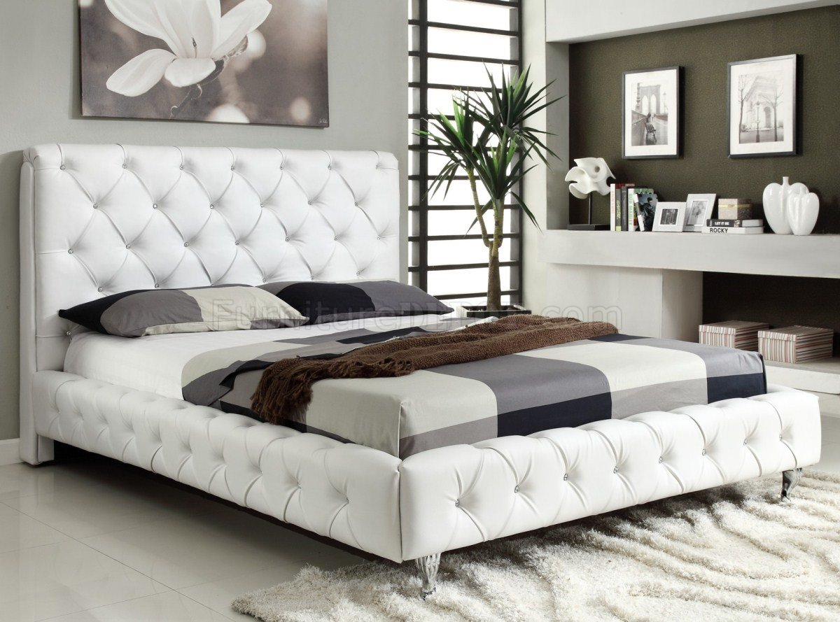 White leather beds designs 1 - Maria White Bedroom W Tufted Leatherette Bed Options