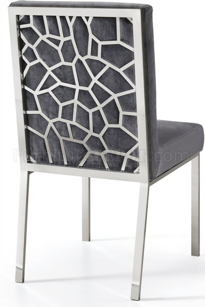 Opal Dining Chair 736 Set Of 2 In Grey Velvet Fabric By