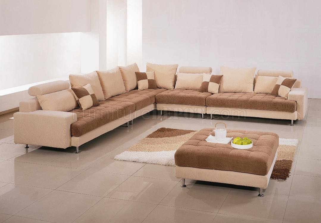 Two tone fabric modern sectional sofa w ottoman pillows for Contemporary sectional sofas