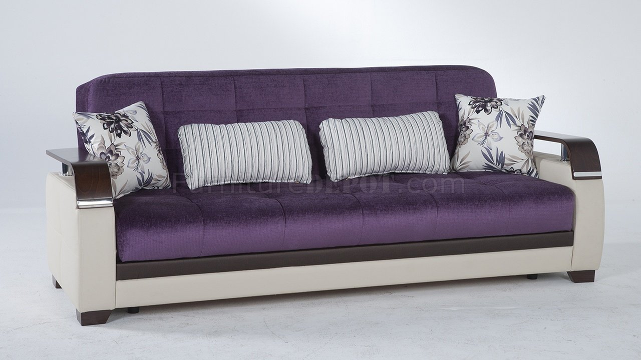 Natural prestige purple sofa bed by sunset w options for Purple sofa