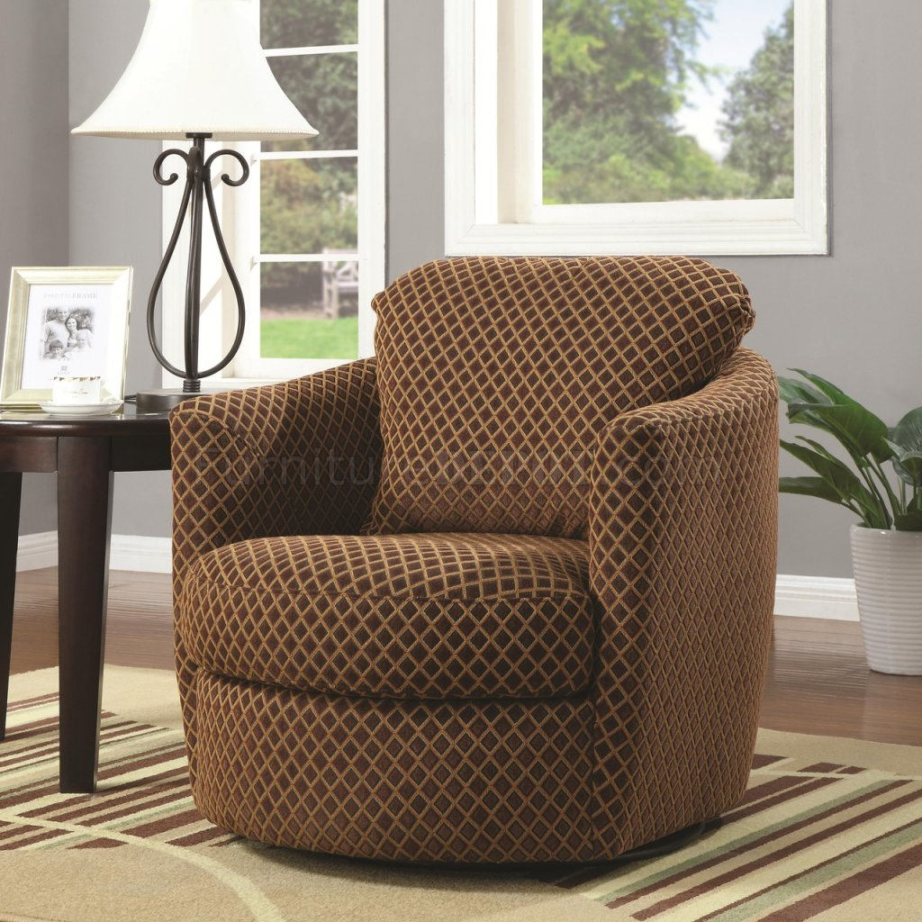 900405 Swivel Accent Chair In Brown Chenille Fabric By Coaster