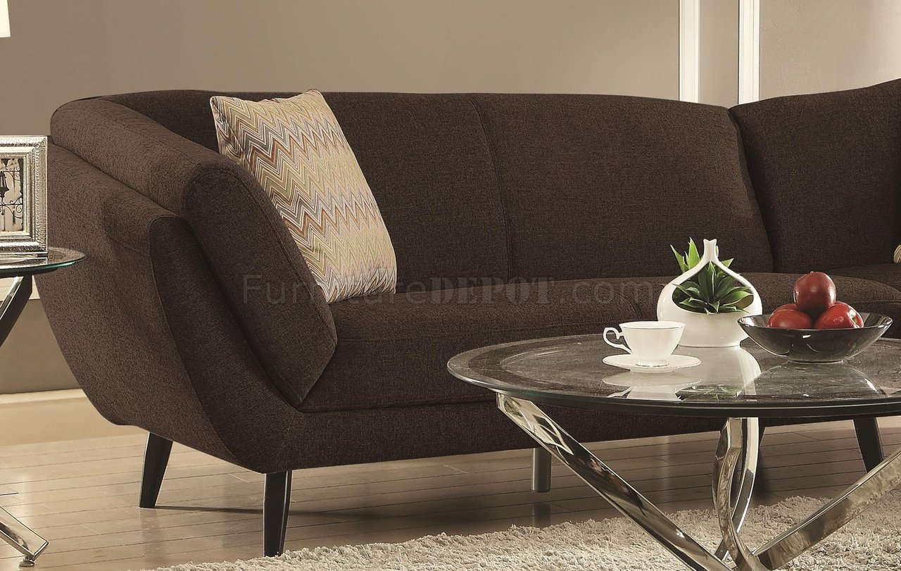 Norwood Sectional Sofa 500463 in Dark Coffee Fabric by Coaster : coaster sectional sofa - Sectionals, Sofas & Couches