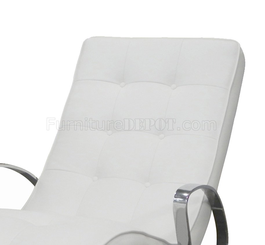 Christiane White rocker chaise in white leatherette by whiteline