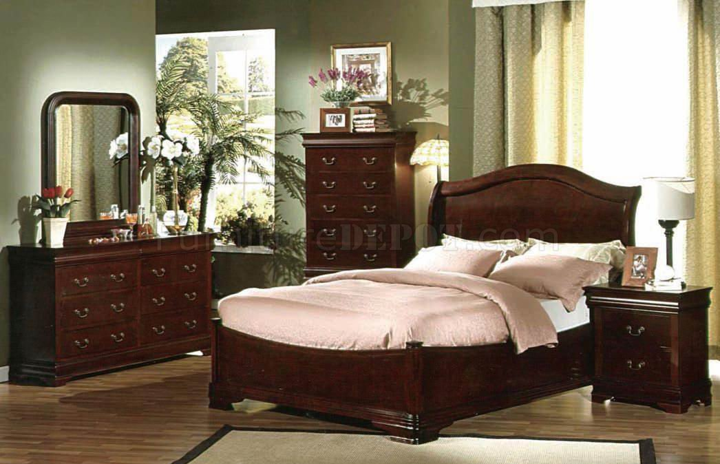 Transitional Bedroom Furniture dark cherry finish transitional bedroom w/optional casegoods