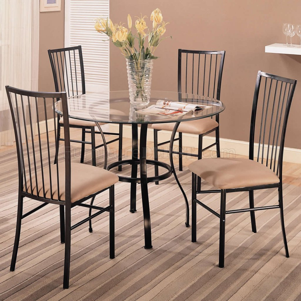 Clear Glass Top Modern 5 Pc Round Dinette Set W/Black Frame