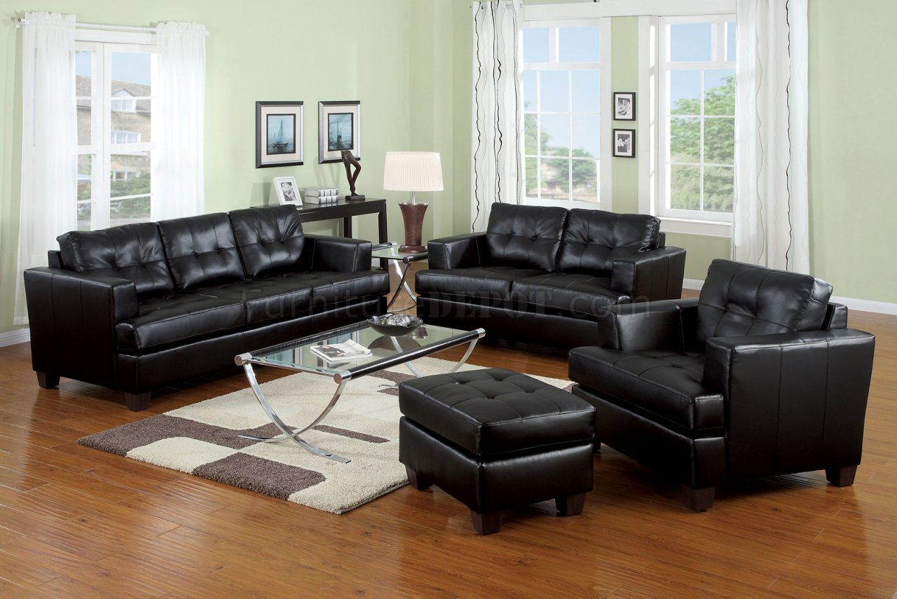 Black, White Or Red Bonded Leather Living Room Sofa W/Options Part 40
