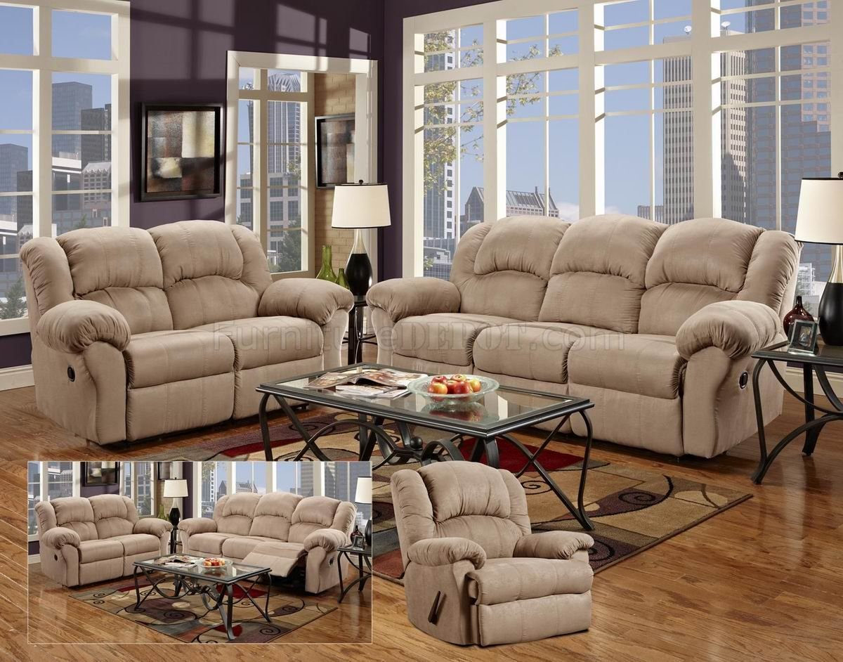 camel fabric modern reclining sofa loveseat set w options rh furnituredepot com Reclining Leather Sofa 6' Sales Sleeper Sofas On Sale