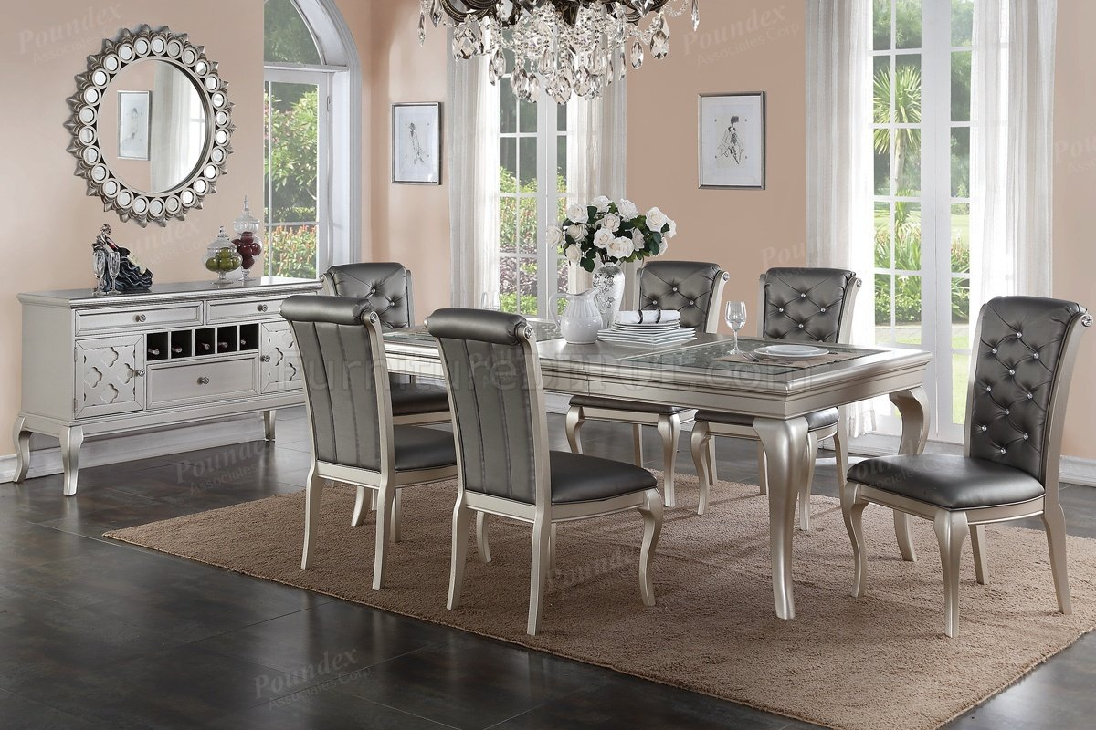 F2151 Dining Table In Silver Tone By Boss W Options