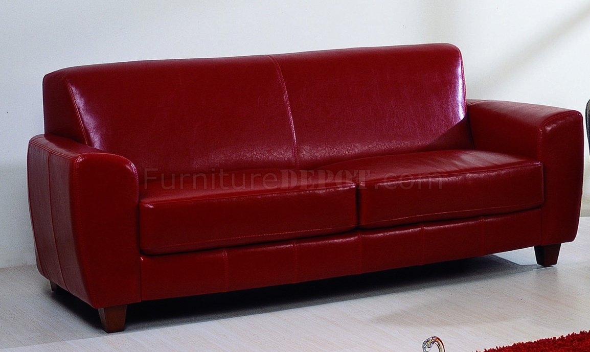 Red brown or black bycast leather contemporary sofa w options for Red and brown sectional sofa