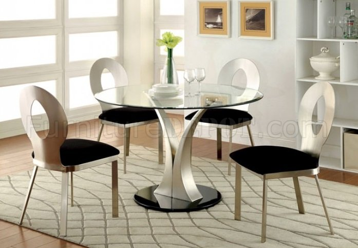 Valo CM3727 5Pc Dining Set W Round Table In Metal Glass Black FADS