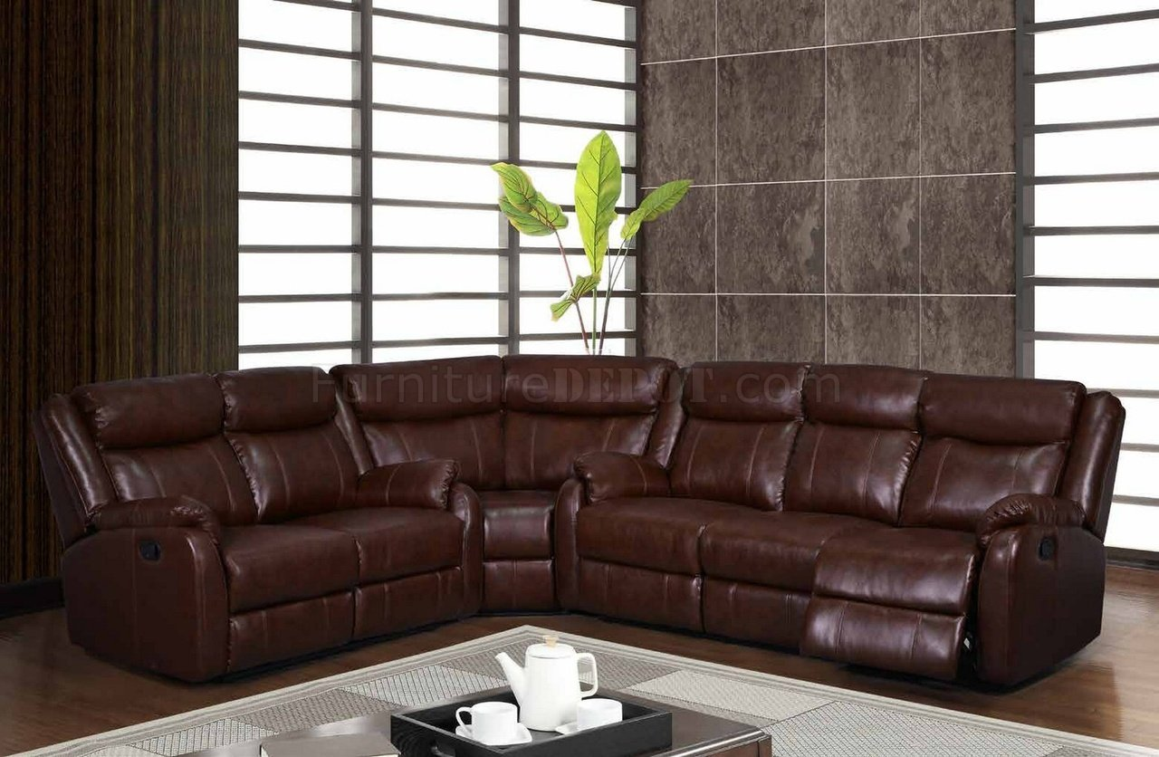 U9303 Motion Sectional Sofa in Brown Bonded Leather by Global
