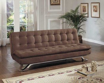 Reviews Brown Microfiber Modern Sofa Bed Convertible w Chrome Legs
