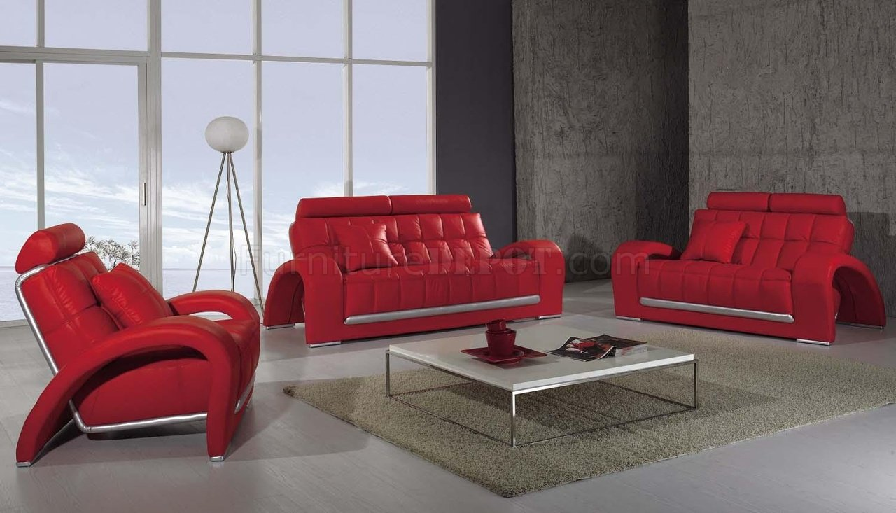 Modern leather 3 piece living room set t50 red for Canape cuir moderne contemporain