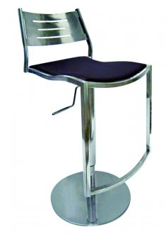 Black Leatherette Seat & Stainless Steel Base Set of 2 Barstools
