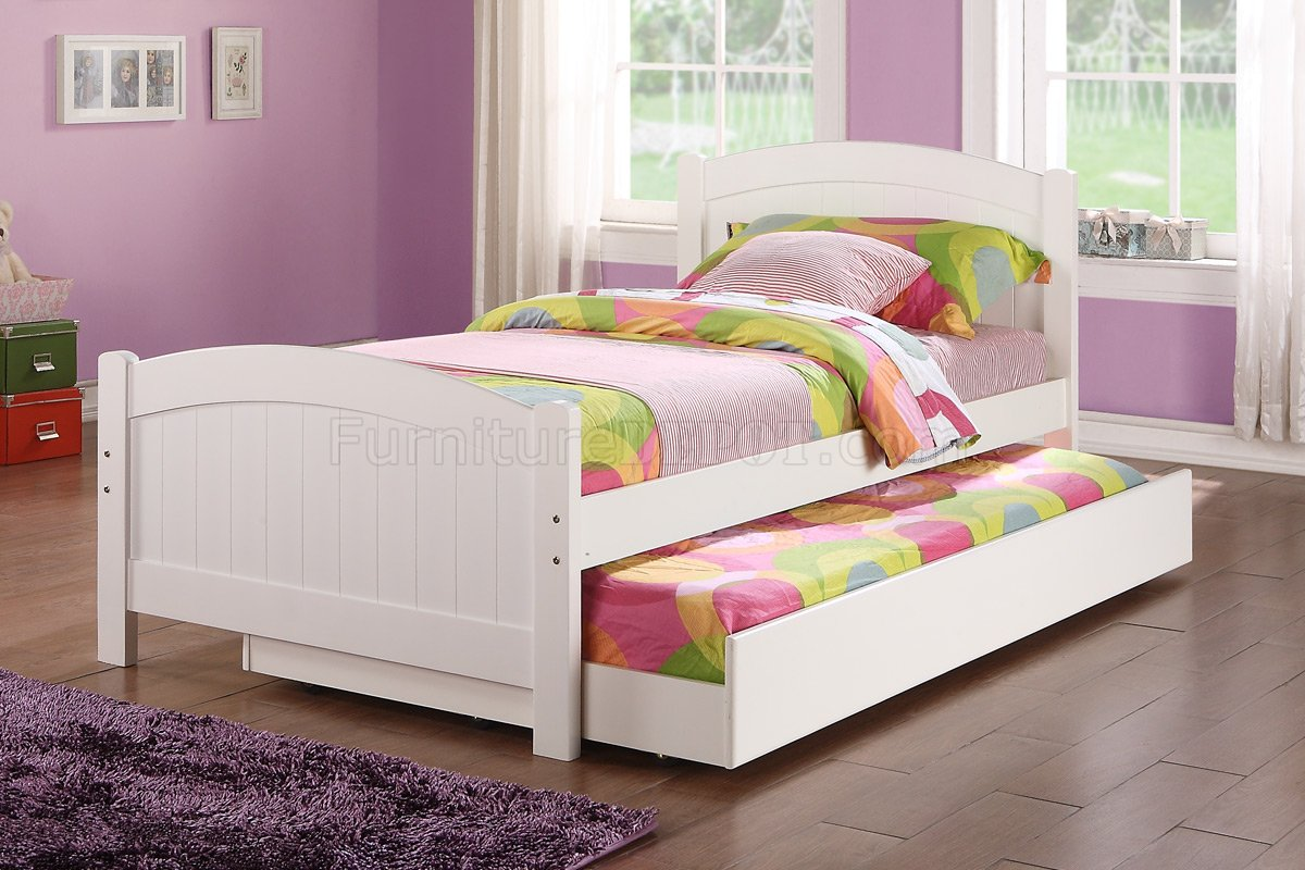 F9218 Kids Bedroom 3pc Set By Poundex In White W Trundle Bed