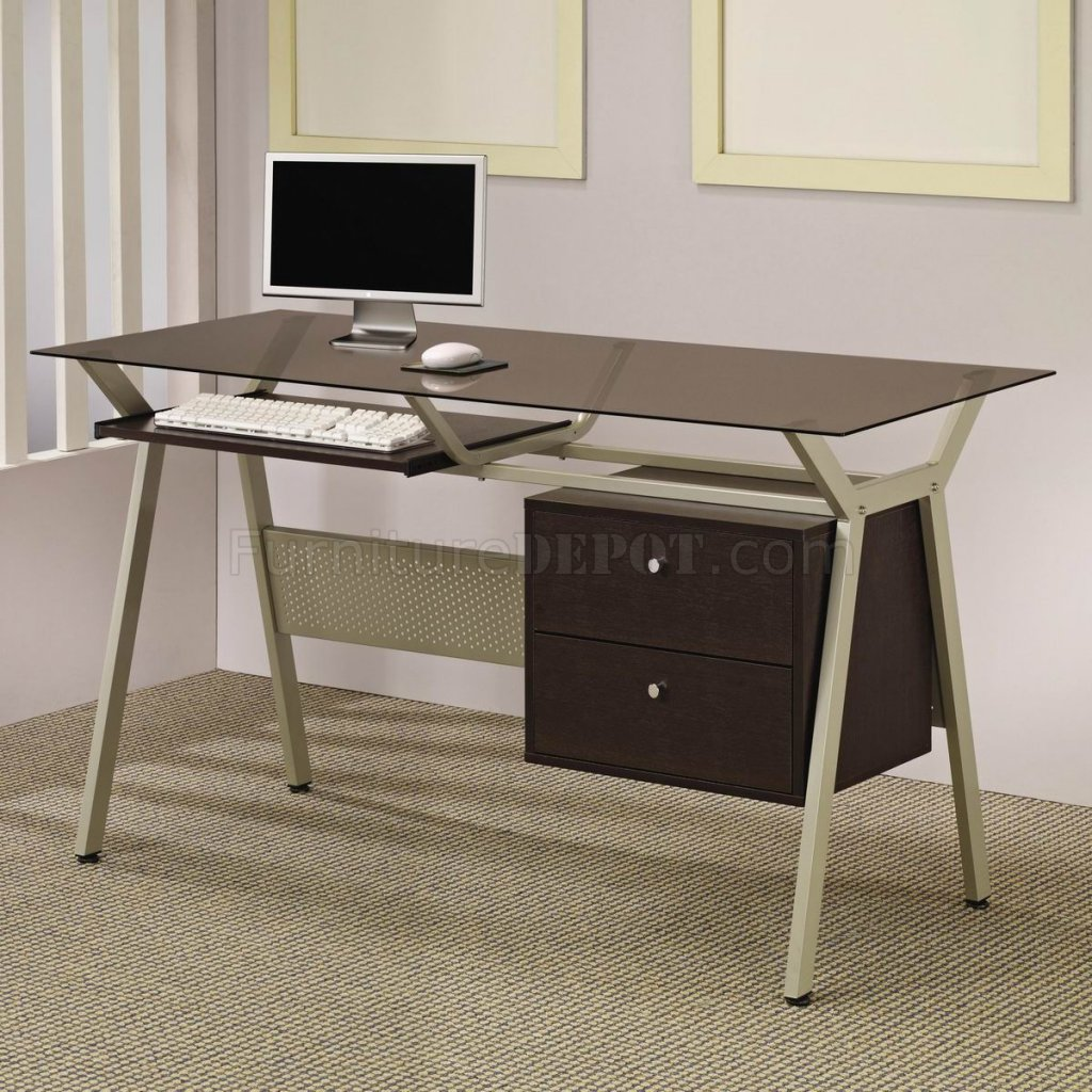 Metal Base Smoked Gl Modern Home Office Desk W Two Drawers