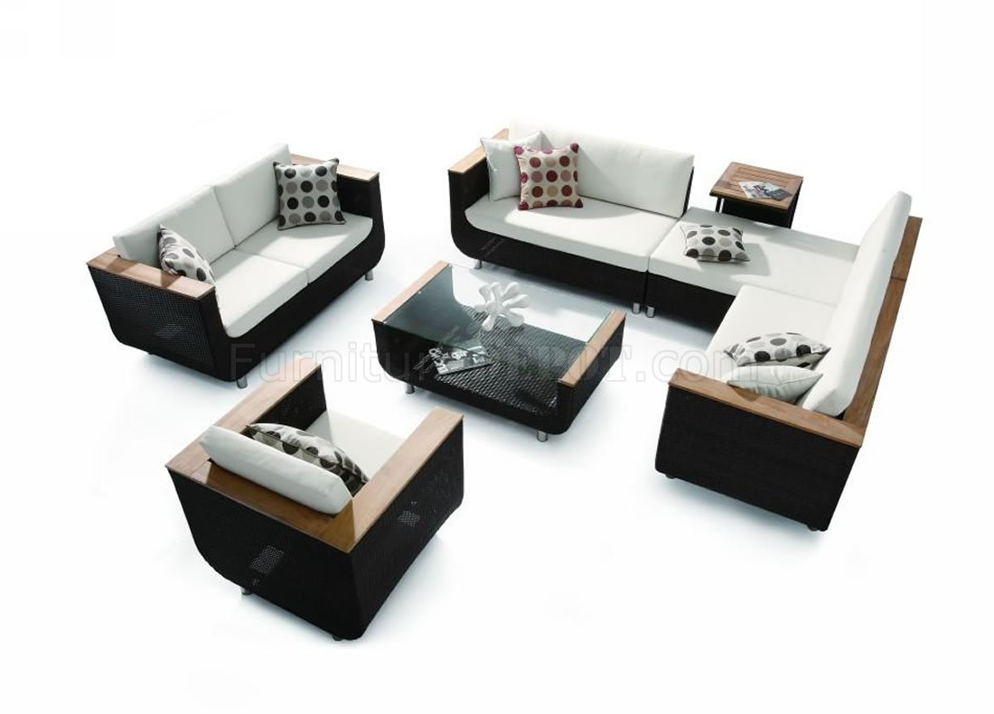 Modern Black & White 4Pc Patio Sofa Set w/Wooden Accents