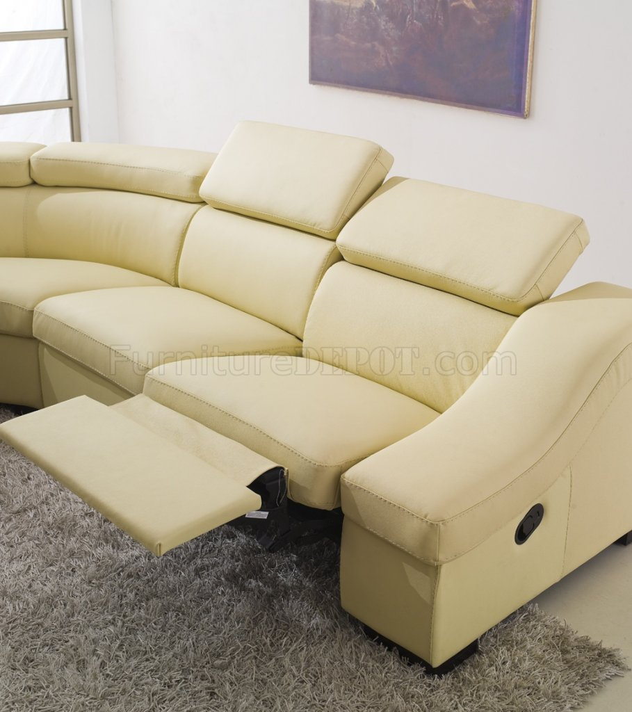 Sofa runde form  Reclining Sectional Sofa in Light Beige Full Leather by ESF