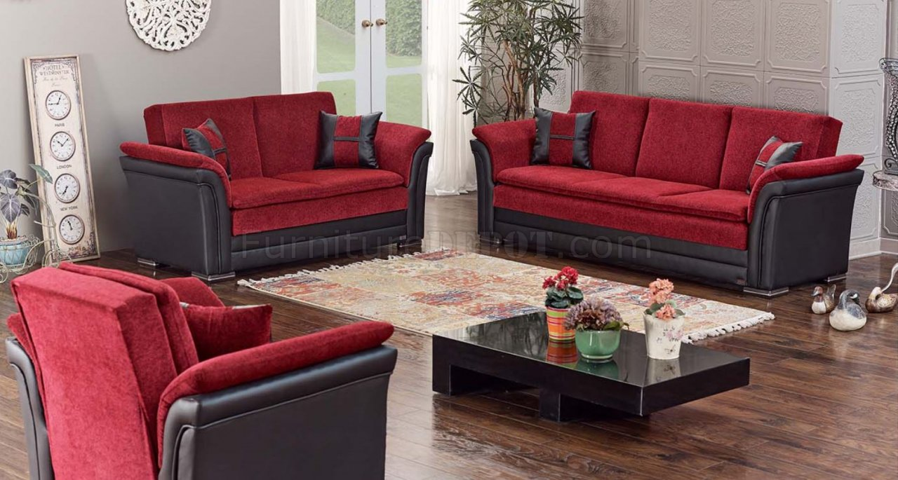 Austin Sofa Bed Convertible In Red Black By Empire W Options