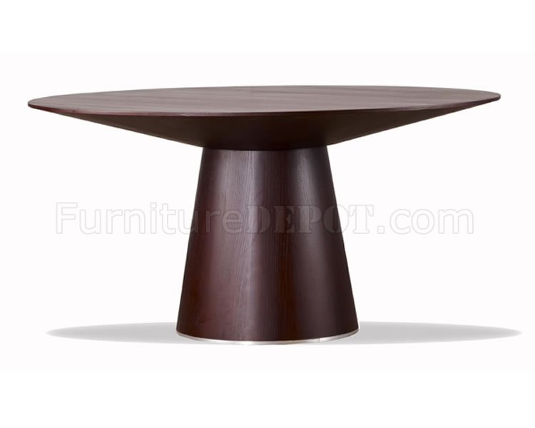 wenge finish contemporary round dining table w/tapering base Contemporary Round Dining Table