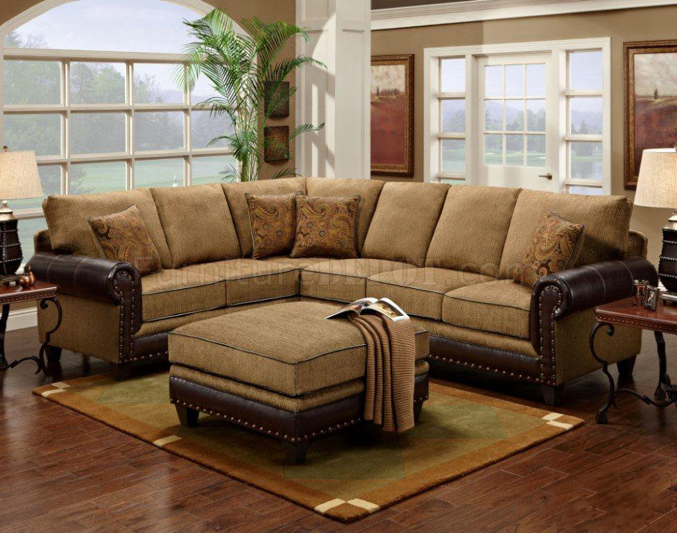 Mocha Fabric Classic Sectional Sofa w/Optional Ottoman