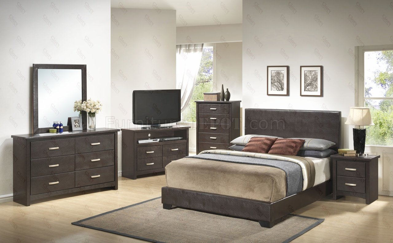 g1800 bedroom 6pc set in dark brownglory furniture