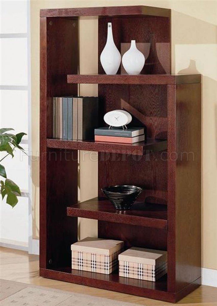 Cappuccino Finish Contemporary Bookcase Console