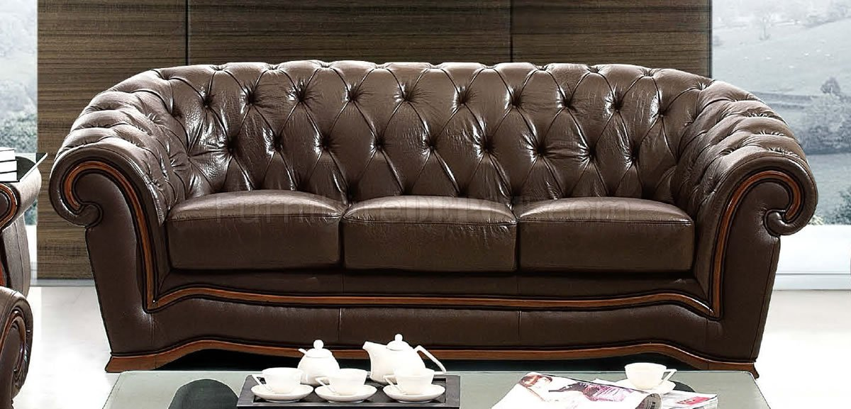 Brown Genuine Leather Formal Living Room Sofa W Tufted Seats