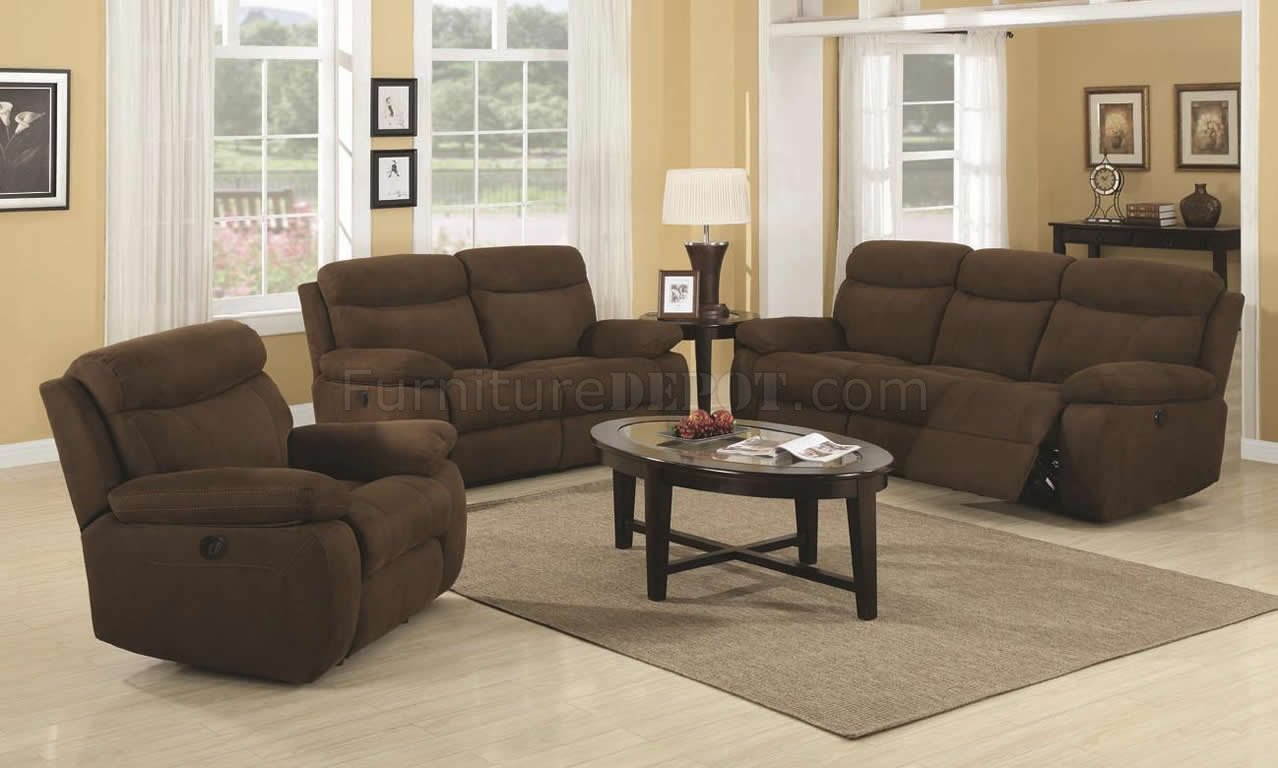 Brown padded microfiber modern motion sofa loveseat set Brown microfiber couch and loveseat