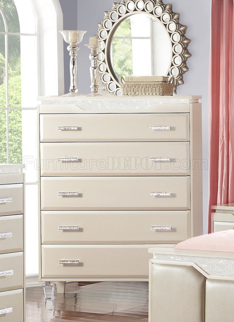 Chanel 5Pc Modern Bedroom Set In Cream W/Options