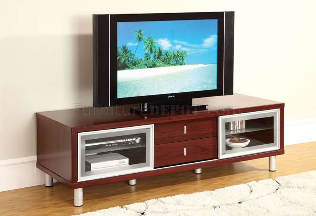 Mahogany finish contemporary tv stand with cabinets